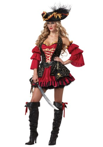 California Costumes Women's Eye Candy - Spanish Pirate Adult, Black/Red,