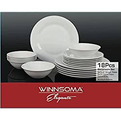 Winnsoma Elegante 18-Piece White Porcelain Dinnerware Set, Service For 6. Complete Set With 6 Dinner Plates, 6 Side Plates And 6 Small Bowls
