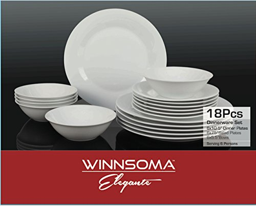 Winnsoma Elegante 18-Piece White Porcelain Dinnerware Set, Service For 6. Complete Set With 6 Dinner Plates, 6 Side Plates And 6 Small Bowls (Porcelain Dinner Set)
