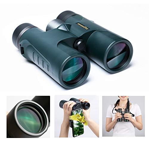 [해외]HD 10x42 루프 프리즘 쌍안경 방수 휴대폰 마운트 스트랩 휴대용 가방 대형 물체 렌즈 선명도 밝기 및 넓은 시야-컴팩트 HD 그린 필름 완전 멀티코트 / HD 10x42 Roof Prism Binoculars Waterproof for Adults Bird Watching, Large Ocular and Obje...