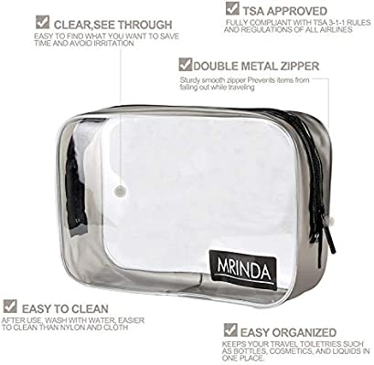 b95dc2736b9d MRINDA 2 Packs TSA Approved Clear Cosmetic Bags with Durable Zipper,Carry  On Airport Airline 3-1-1 Compliant Bag,PVC Material Travel Toiletry Bag for  ...
