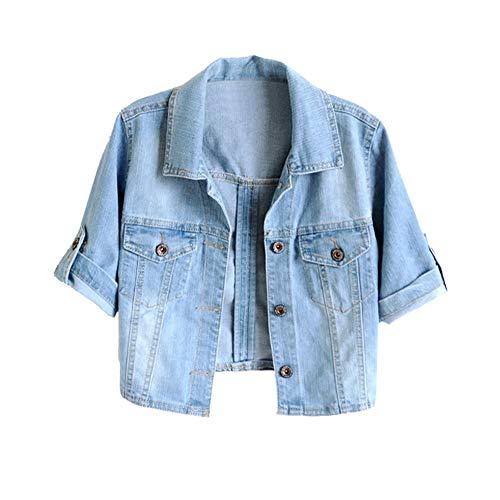 - Trendy XU Women Summer Short Sleeve Blue Denim Jacket Short Cropped Sunscreen Shawl (XL)