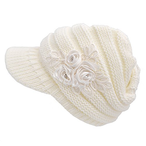Women's Cable Knit Visor Hat with Flower Accent White (Accent Cap)