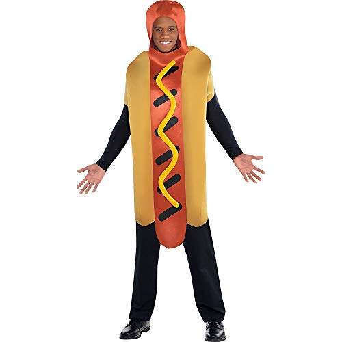 AMSCAN Hot Diggity Hot Dog Halloween Costume for Adults, Standard, with Armholes -