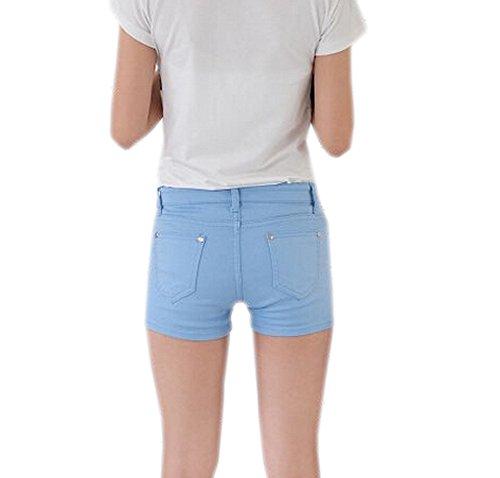DELEY Mujeres Sólido Estiramiento Hot Pants Juniors flacos Fit Denim Jeans Pantalones Cortos Azul Claro