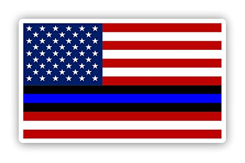 Troops Car Flag - American Flag with Thin Blue Line Sticker for cars trucks for honor and support of our officers and troops Vinyl Window Bumper Decal 5 x 3 inch