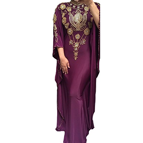 Prom Couture Special Occasion Dress - Ivanna - Fitted Batwing 1 - Hand-Beaded Kaftan, Dress, Abaya (Medium, Purple)