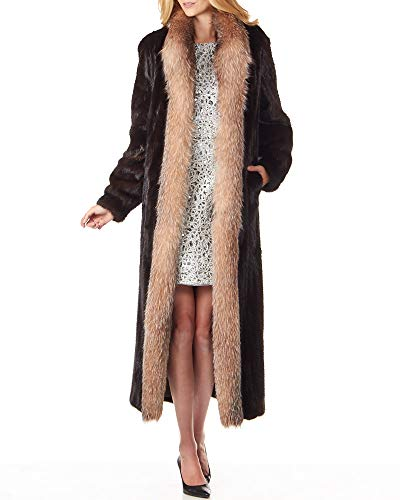 frr Mahogany Mink Fur Full Length Coat with Crystal Fox Fur - Small