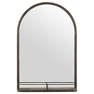 """Stone & Beam Modern Arc Iron Mirror With Shelf, 30""""H, Dark Bronze"""
