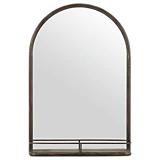 Stone & Beam Modern Round Arc Iron Hanging Wall Mirror With Shelf, 30 Inch Height, Dark Bronze (B073WHKXD4)   Amazon Products