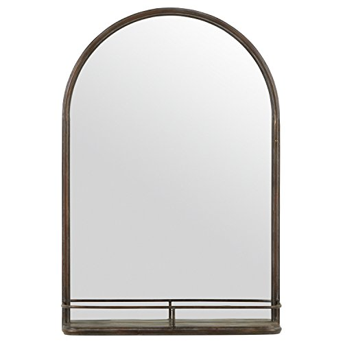 Stone & Beam Modern Round Arc Iron Hanging Wall Mirror With Shelf, - Bathroom Modern Mirrors Farmhouse Oval