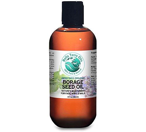 Borage Seed Oil 8 oz (GLA) 100% Pure Cold-pressed Unrefined PA-free Organic - Bella Terra Oils