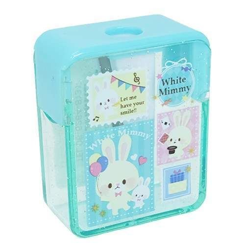 Green Glitter Crown Pencil Sharpener with Rabbits, Stamps etc. Kamio