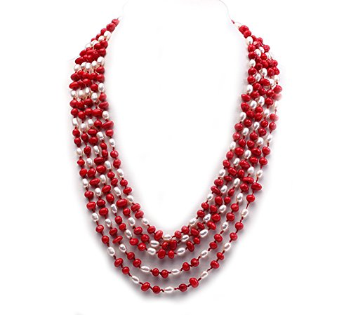 JYX Pearl Multi Strand Necklace White Freshwater Pearl and Red Coral Chunky Necklace 21