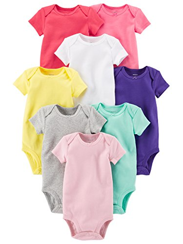 Carter's Baby Girls' 8-Pack Short-Sleeve Bodysuits, Multi/Pink, 18 Months ()