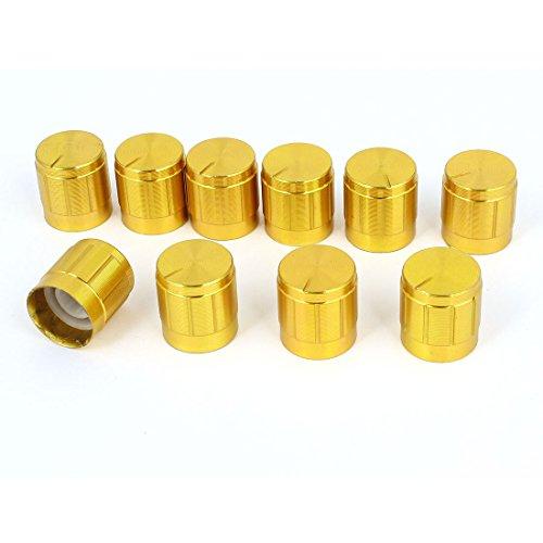 10pcs 6mm Hole Dia Light Lamp Dimmer Control Rotary Knob Cap Gold Tone