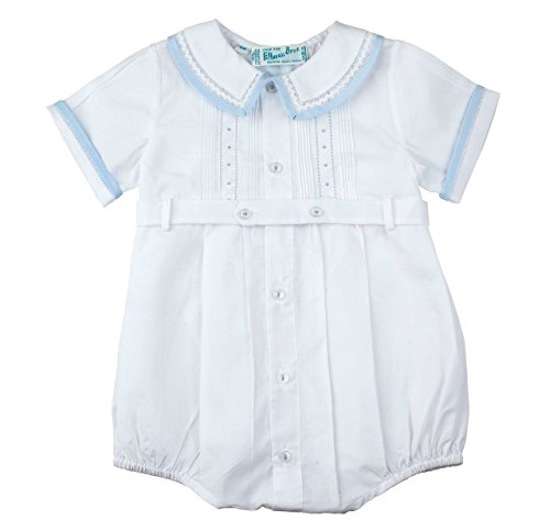 y Boys White Belted Bubble Outfit With Blue Trim (9 Months) ()
