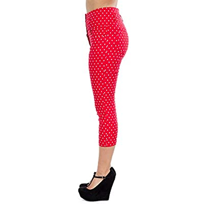 Sidecca Polka Dot Retro Rockabilly High Waist Capri (Medium, Red/White) at Women's Clothing store