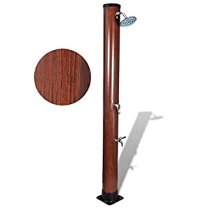 SKB Family 7 ft Pool Solar Shower with Faux Wood Finish Outdoor Garden Poolside Rinse Head