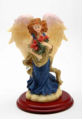 (Cosmos Gifts Fine Polyresin Angel Holding Red Rose Flowers on Wood Base Figurine, 4-1/8