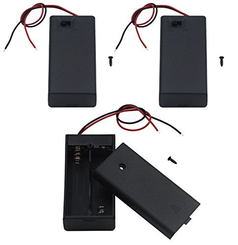 LAMPVPATH 3Pcs 2 AA Battery Holder with Switch, 2x 1.5V AA Battery Holder Case with Wire Leads and ON/OFF Switch(3 - Switch Replacement Aa