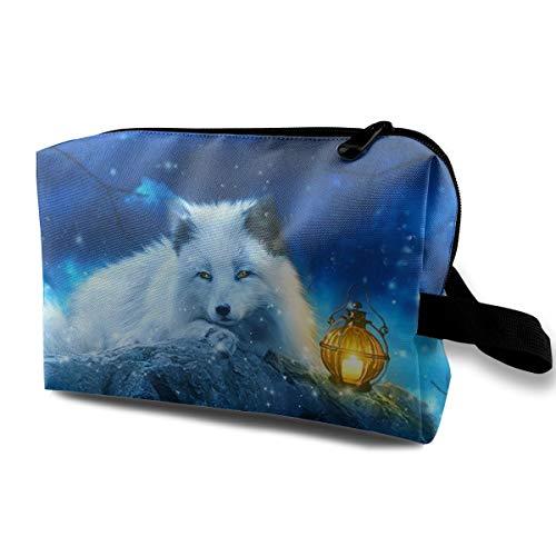 With Wristlet Cosmetic Bags Snow White Fox Travel Portable Makeup Bag Zipper Wallet Hangbag ()