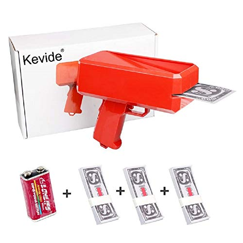 Kevide Interesting Party Game Props-Money Gun Super Gun Cash Gun Red Money Gun Make it rain(300 Prop Money) by Kevide (Image #7)