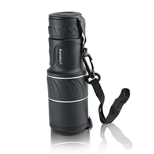 Aoneky 10 X 40 Dual Focus High Powered Monocular Telescope for Hunting Camping Golf Hiking Fishing Bird Watching, Non-Slip Grip, Roof Prism Waterproof Fogproof, Bright and Clear Range of View, Compact and Lightweight Portable Design, 10X Monocular Zoom To See Things 10X Closer, Steady Viewing, Optics Zoom Scalable Telescopic with Lens Dust Covers, Black