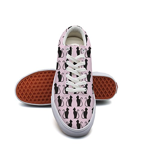 Top Shoes Canvas Light Cat Black Background Pink for Tennis Low Womens Feenfling Women's Popular Cute ARqwzz