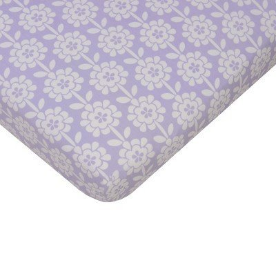 2 for $9.99 Fitted Crib Sheet in Purple Mix & Match Collection Floral 100% Cotton by Sumersault