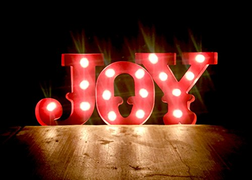 Large JOY Holiday Christmas Metal Lighted LED Marquee Sign Decoration In/Outdoor Outdoor Christmas Decorations Joy Sign