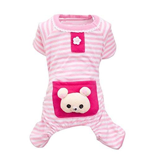 Pet Pajamas ! AMA(TM) Pet Puppy Small Dog Cotton Warm Striped Pajamas Jumpsuit Hoodie Jacket Coat Clothes Doggy Apparel