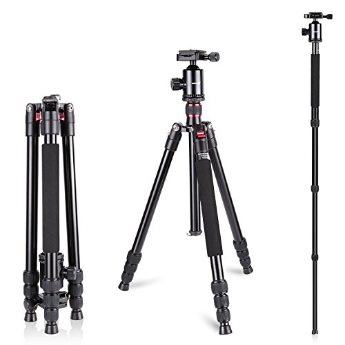 Neewer Aluminum Alloy 64 inches/162 Centimeters Camera Travel Tripod Monopod with 360 Degree Ball Head,1/4 inch Quick Shoe Plate and Bag for DSLR Camera Video Camcorder up to 26.5 pounds/12 kilograms
