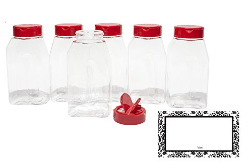 BAIRE BOTTLES -16 oz CLEAR PLASTIC SPICE JARS, 6 Pack, Red Flapper Lid, Sifter Shaker Holes and Pour Open Sides,
