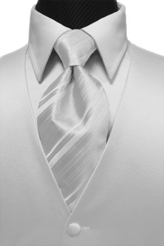 Cardi Men's Solid Satin Tuxedo Vest & Windsor Band Striped Tie,XXXX-Large, White - Cardi Solid Satin