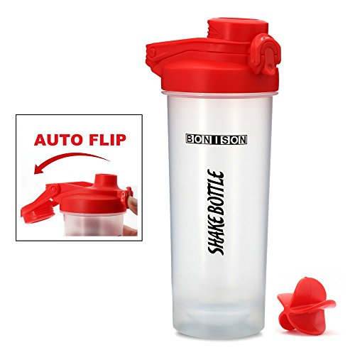 Bonison 24 Oz Shake Bottle With Flip Top Spout, Mixer Ball To Mix Protein Powder Easy Shaker Water Bottle (24OZ-Red)