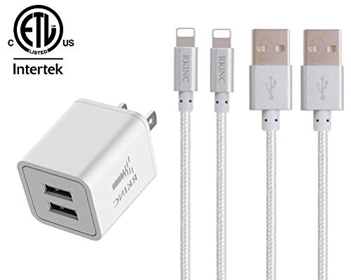 - RKINC Phone Charger Nylon Braided Fast Charging Cable 2 Pack 6Ft Extra Long Data Sync Transfer Cord Dual Port Plug Wall Charger(ETL Listed) Compatible with iPhone XS/XRX/8/7/6S/6/Plus/5S/iPod/iPad
