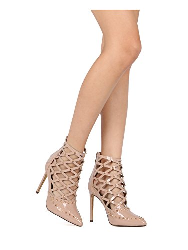 Alrisco Women Studded Pointy Toe Caged Cut Out Stiletto Bootie Pump HF45 - Nude Patent (Size: 6.0) by Alrisco (Image #5)