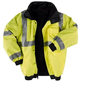 """Neese Viz 9400SJ PVC/Oxford Polyester ANSI Class 3 High Visibility """"Bomber"""" Jacket with Removable Hide-Away Hood And Fleece Liner, Elastic Cuff, Medium, Lime"""