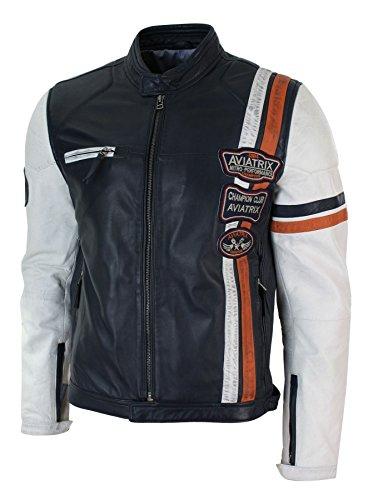 Blu Scuro Toppe Vintage Da Con Biker Giacca Uomo Bianco In Casual Vera Pelle Ax0Bq