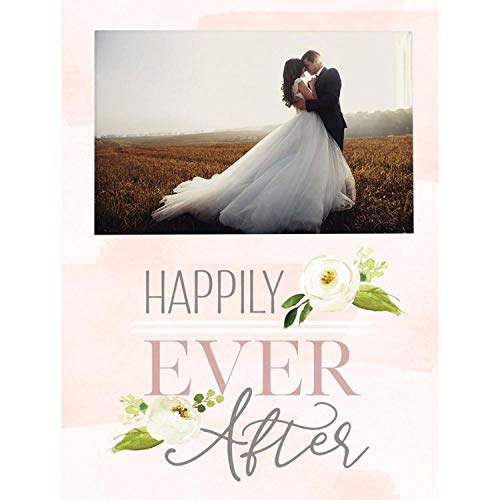 P. Graham Dunn Happily Ever After Floral Pink 5 x 4 Pine Wood Magnet Wall and Tabletop - Magnet Frame Floral