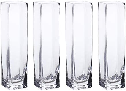 Whole Housewares Clear Square Glass Vase Set of 4 2.35X10inch