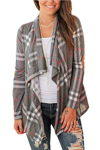 (Womens Plaid Open Front Cardigan Shawl Collar Long Sleeve Elbow Patch Draped Outwear Grey)