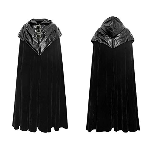 Punk Rave Steampunk Men Hoodie Cape Cloak Gothic Halloween Vampire Count Bat Cape Loose Thick Trench Coat