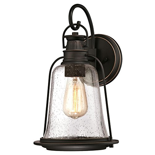 Westinghouse Lighting 6349100 Brynn One-Light Outdoor Wall Fixture, Oil Rubbed Bronze Finish with Highlights and Clear Seeded Glass (Outdoor Lamp Post Oil Rubbed)