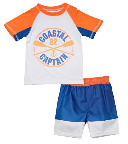 Sweet & Soft Baby Boys 2-Piece Rash Guard and Trunk Swimsuit Set, Orange Captain, Size 12 Months'