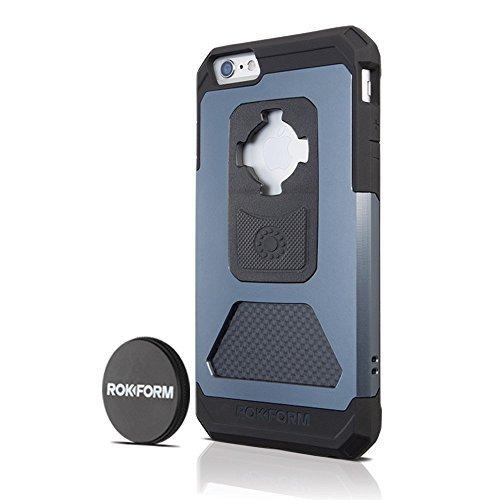 Rokform iPhone 6/6s PLUS Fuzion Pro Series Aluminum & Carbon Fiber Rugged Magnetic Phone case with twist lock & universal magnetic car mount (Gun Metal) 532305