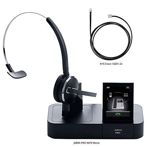 Midi Boom Headset - Jabra PRO 9470 Mono Midi Boom Wireless Headset with EHS Cisco 14201-22 Cable, Bundle for Cisco Unified IP Phones (7900G Series)