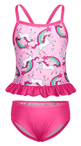 AmzBarley Girls Unicorn Bathing Suit Two Pieces Tankini Set Beach Sport Bikini Swimwear Swimming Costume Water Pool Party Swimsuit Trainnning Clothes Size 8-9 Years Rose -