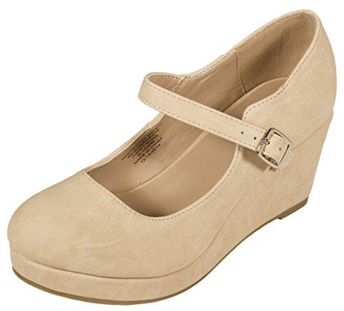 Shoes Beige Kids Nubuck (Lustacious Kid's Girly Round Toe Mary Jane Platform Wedge Shool Sandal, beige nubuck leatherette, 12 LK)